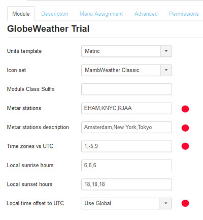 GlobeWeather Standard module options