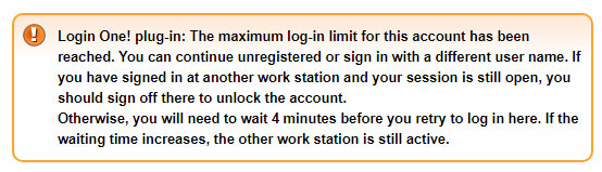 Login One! notice - J3 (waiting time only with Premium and Business Edition)